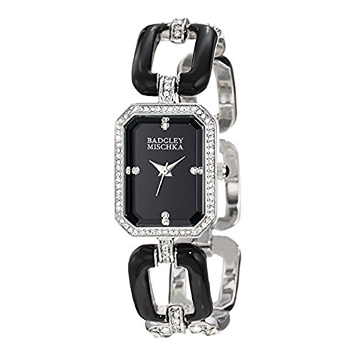 badgley-mischka-womens-ba-1193bkbk-swarovski-crystal-accented-black-enamel-and-silver-tone-open-link