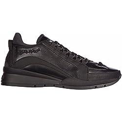 Dsquared2 scarpe sneakers uomo in pelle nuove 551 vitello sport nero