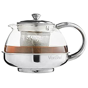 VonShef Modern Stainless Steel 800ml Glass Infusion Tea Pot Loose Tea Leaf Coffee Infuser
