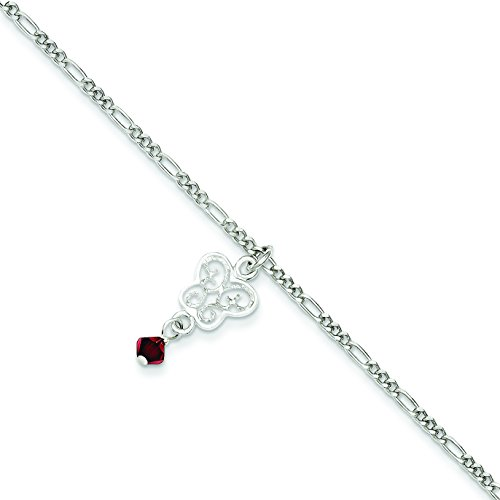 Sterling Silver Dark Pink Crystals & Dangling Butterflies Anklet: Length 10 in