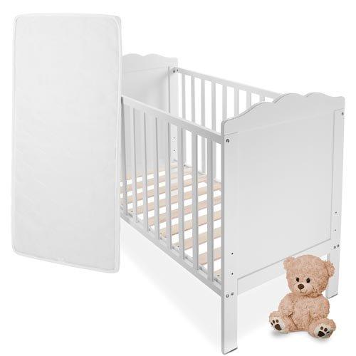 Babybett-Kinderbett-Komplettbett-in-Weiss-mit-Lattenrost-und-Matratze-aus-Naturfasern