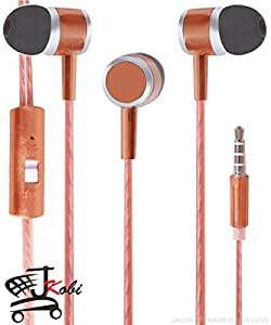 Premium Perfumed / Fragrance In Ear Bud Headset Earphones With Mic Compatible For iBall Andi 4.5P IPS Glitter -Brown