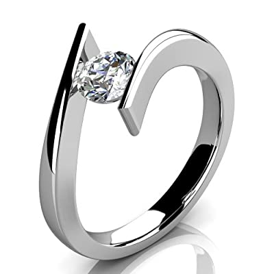 Beautiful 0.15 Carat Tension Set Round Diamond Solitaire Engagement Ring, 9k White Gold
