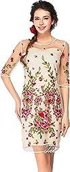 Dress({Choice Fashion_White_Flowers_Embroidery_Crepe Net_Women's Dress})