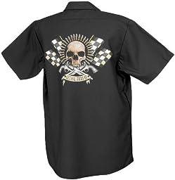 Lethal Threat (WS40304XL)  Men\'s Bullet Skull Work Shirt (Black, X-Large)