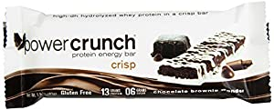 Bioengineered Nutrition Research Group Power Crunch Crisp Protein Bar, Chocolate Brownie Wonder, 1.5 Ounce Bars, 12 Count