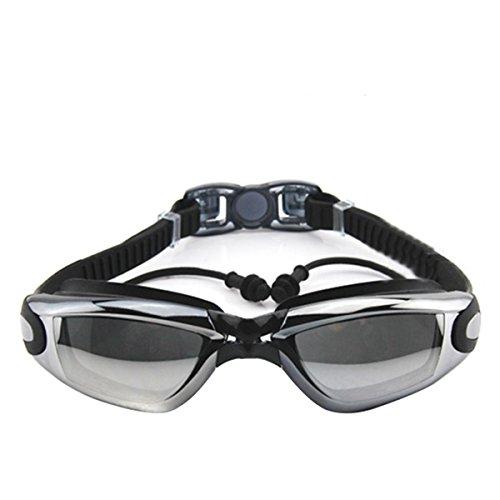 OUTERDO Schwimmbrille Mit Earplugs M609AMR UV-Schutz Anti-Fog Galvanotechnik Schwimmen Brillen Anti-Beschlag Large Flame Starkes Silikonband Für Damen Und Herren Waterproof Eyewear