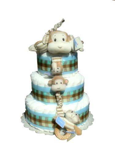 Gund Duckens Silly Stripes Baby Shower Diaper Cake (Monkey)