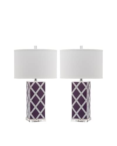 Safavieh Set of 2 Garden Lattice Table Lamps, Light Purple