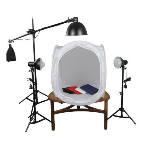 PhotoGeeks TT2/3L/60 Continuous Lighting Tabletop Photography Kit / 60 x 60cm Light Tent / 3 x 35w Fluorescent 5500k Light Bulbs / 3 Lights / Includes Boom Arm Stand