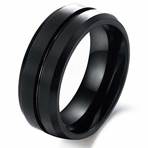 MAZU 8mm Polished Edge/ Matte Brushed Finish Grooved Center Men's Tungsten Ring Wedding Band Color Black Size 12