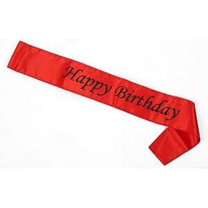 Funcart Red Happy Birthday Sash