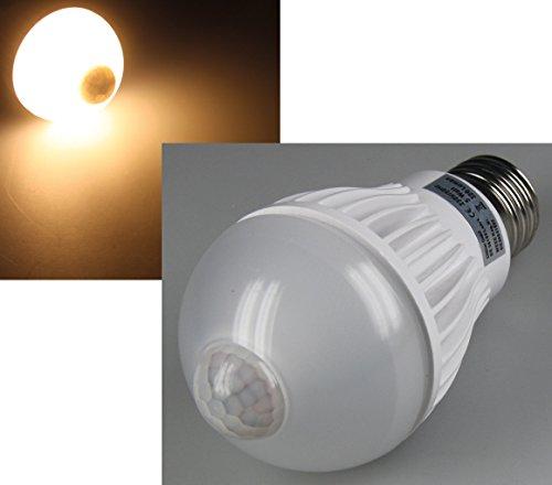"LED Glühlampe E27 ""PIR-5W"" warmweiß, 3000k, 320lm, 5W, mit Bewegungsmelder"