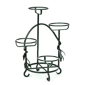 Buy outdoor decorative stands - Achla Feng Shui Patio Decor Black Graphite Cascading Plant Stand Decorative Outdoor Garden Planters black