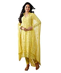 Rudra Fab New Yellow Color work semi stitched salwar suit dress material