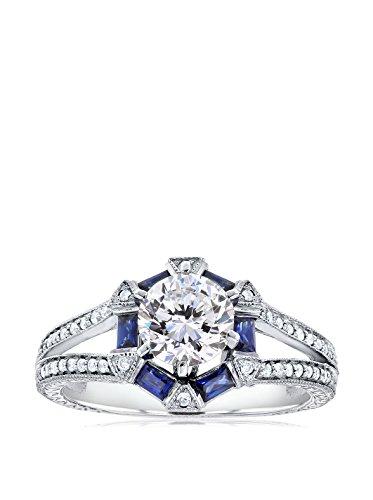 Kobelli 14K White Gold Moissanite, Blue Sapphire & Diamond Forever Brilliant Engagement Ring
