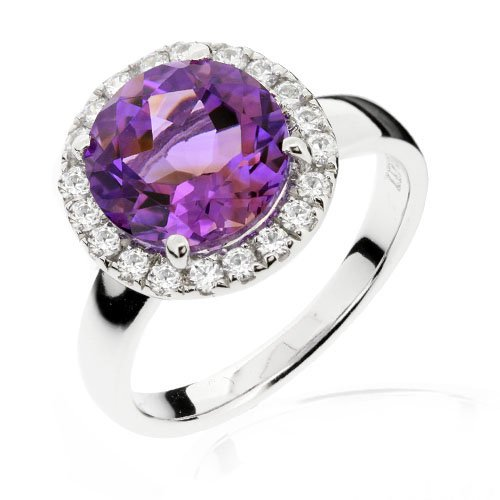 LenYa Special - Party and casual wear, Anniversary Sterling Silver Ring with Round Amethyst (Main Stone), Round Brilliant cut Cubic Zirconia, (Ring Size 6)