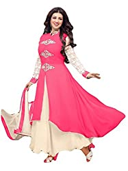 Sitaram womans georgette Dark Pink colour anarkali gown style semistiched material with dupatta.