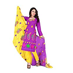 Vardhman Synthetics Women's Embroidered Unstitched Dress Material (Lavender_Free Size)