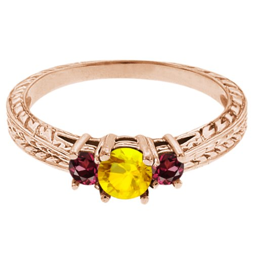 0.60 Ct Round Yellow Sapphire Red Rhodolite Garnet 14K Rose Gold 3-Stone Ring