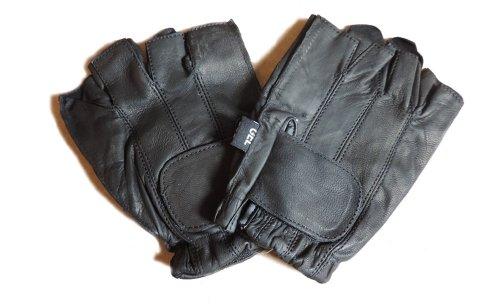 Leather Fingerless Black Motorcycle Gel Palm Gloves Large перчатки patagonia shelled insulator fingerless gloves
