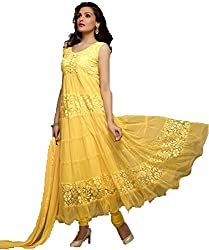 Yellow Anarkali Semistitched Dress Material