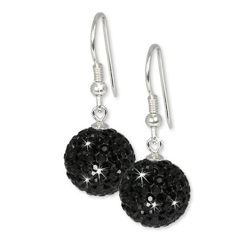 SilberDream Glitter Earring Swarowski Elements black, 925 Sterling Silver GSO206