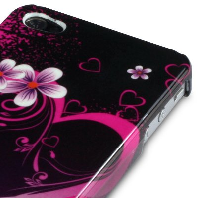 IPHONE 4 / IPHONE 4G LOVE HEART FLOWER DESIGN BACK COVER CASE - PINK PART OF THE QUBITS ACCESSORIES RANGE