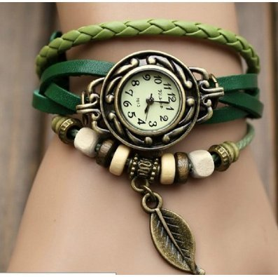 WAWO Quartz Fashion Weave Wrap Around Leather Bracelet Lady Woman Wrist Watch (Green leaf)