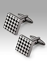 Etched Diamond Square Cufflinks [T09-0914-S]