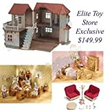 Calico Critters Luxury Townhome Gift Set 2 Chipmunk Figures Over 60 Accessories (Including Desk, Kitchen, Bedroom, Dining Room, and Laundry Sets)