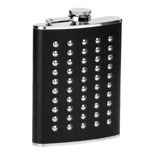 Premier Housewares Studded Hip Flask, 8 oz, Black