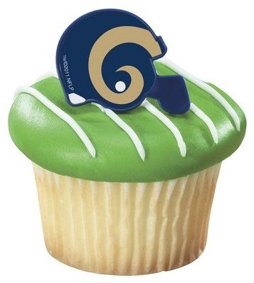 NFL St. Louis Rams Football Helmet Cupcake Rings - 24 pcs