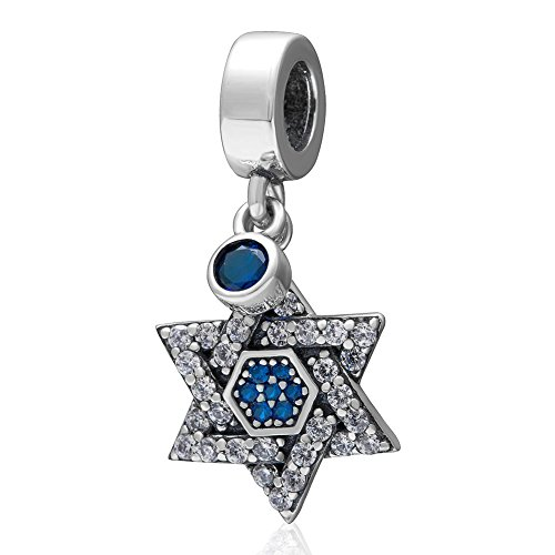 SoulBeads Dangling Blue&Clear CZ Star Charms Pendant - Authentic 925 Sterling Silver Bead Fits Pandora Charms Bracelet, Necklace (Pandora Charms Number 1 compare prices)