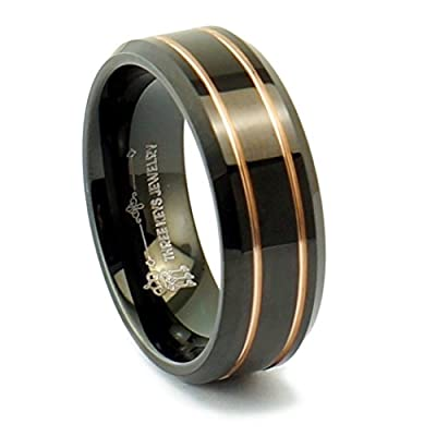 Three Keys Jewelry 8mm Men Tungsten Carbide Ring Wedding Engagement Band Black Polished Beveled Edge With Double Groove Plated Rose Gold Size 6-14.5