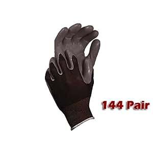 144 Pack Atlas Glove 370BBK Atlas Nitrile Tough Gloves - Medium
