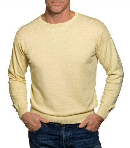 Mens Cashmere & Cotton Crew Neck Golf Jumper Lemon Medium