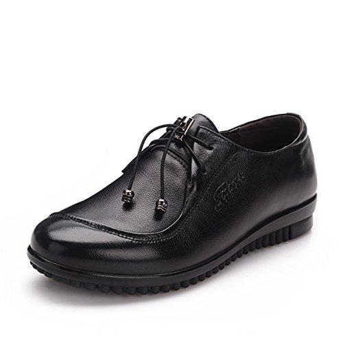 Pelle invecchiato scarpe mamma/ end of elastico morbide scarpe di nonna/Fondo piatto scarpe per gli anziani/Scarpe da lavoro-A Lunghezza piede=24.3CM(9.6Inch)