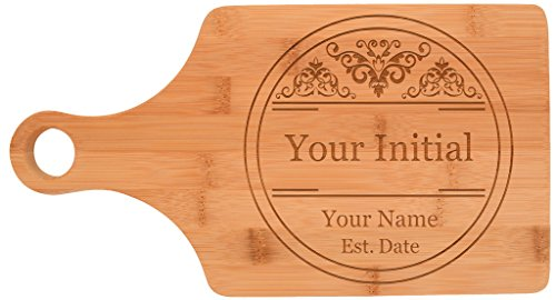 Custom Engraved Wedding Gift Initial Letter Personalized Paddle Shaped Bamboo Cutting Board Bamboo