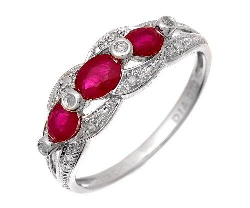 9ct White Gold Ruby And Diamond Fig 8 Design Ring