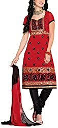 Fabiola Trendz Women's Cotton Silk Unstitched Dress Material (Red)
