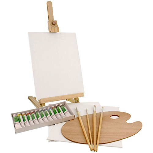 us-art-supply-21-piece-wood-studio-table-easel-paint-box-set-with-12-paint-colors-canvas-panels-brus