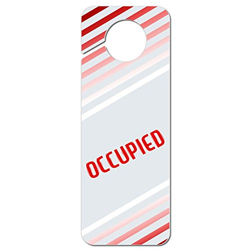 Graphics and More Occupied Red Stripes Plastic Door Knob Hanger Sign (Door Handle Occupied compare prices)