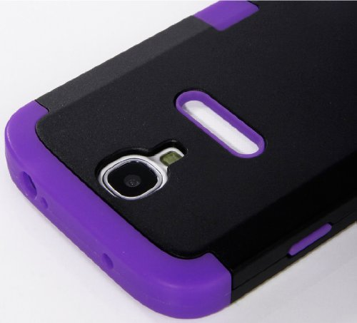 "Mylife Purple - Black Matte Robot Design (3 Piece Hybrid) Hard And Soft Case For The Samsung Galaxy S4 ""Fits Models: I9500, I9505, Sph-L720, Galaxy S Iv, Sgh-I337, Sch-I545, Sgh-M919, Sch-R970 And Galaxy S4 Lte-A Touch Phone"" (Fitted Front And Back Solid front-342105"