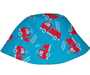 Baby Boys Mod Infant and Toddler Bucket Sun Protection Hat by Iplay,0-6 Months,Aqua Fire Truck Color: Aqua Fire Truck Size: 0-6 Months (Baby/Babe/Infant - Little ones) - BebeHogar.com