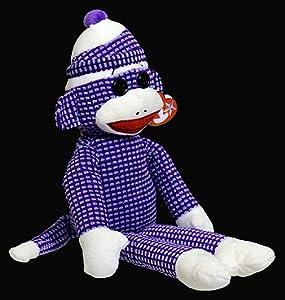 Ty Beanie Buddies Sock Monkey Plush, Purple Quilted, Medium