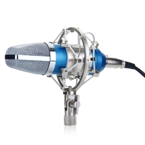 Excelvan® Bm-700 Condenser Microphone Recording Mic With Shock Mount (Blue)