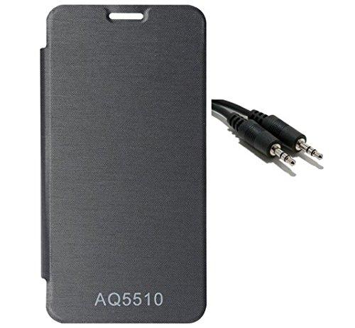 EXXONINC Premium Flip Cover Case for Micromax Yureka Yu YUREKA AO5510 Mobile (Black)+AUX CABLE
