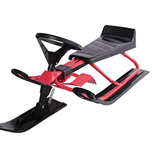 Infantastic® SCHL02 Sledge Super Snow Racer with Breaks Steering Sledge Small Red