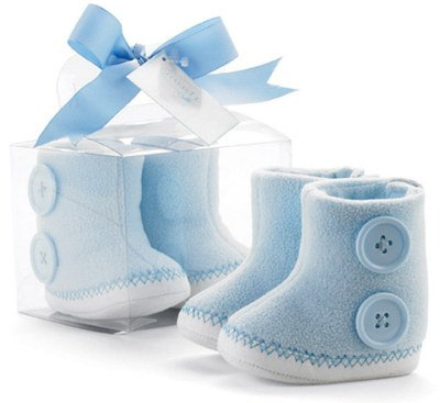Mud-Pie Baby Lil Buddy Blue Fleece Baby Booties